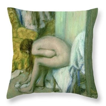 After The Bath Throw Pillow by Edgar Degas