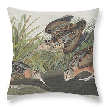 American Woodcock Throw Pillow by John James Audubon