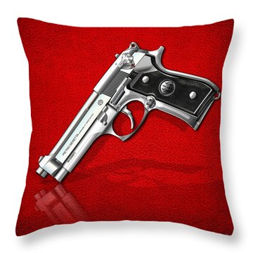 Beretta 92fs Inox Over Red Leather  Throw Pillow by Serge Averbukh