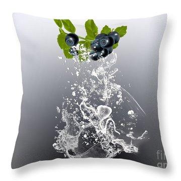 Blueberry Splash Throw Pillow by Marvin Blaine