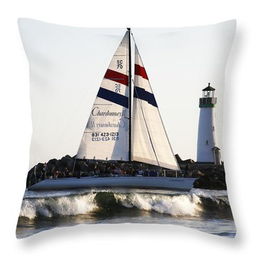 2 Boats Approach Throw Pillow by Marilyn Hunt