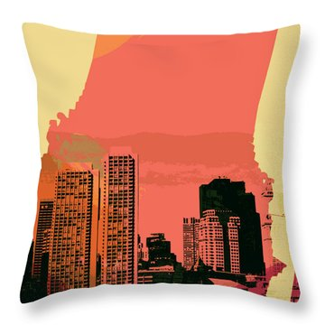 Boston Skyline And Transit V1 Throw Pillow by Brandi Fitzgerald