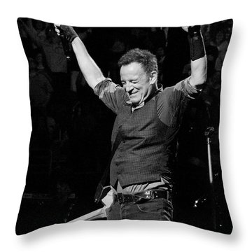 Bruce Springsteen Throw Pillow by Jeff Ross