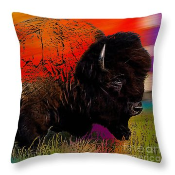 Buffalo Collection Throw Pillow by Marvin Blaine