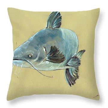 Channel Catfish Fish Animal Watercolor Painting Throw Pillow by Juan  Bosco