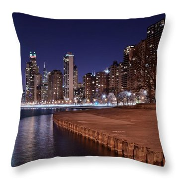 Chicago From The North Throw Pillow by Frozen in Time Fine Art Photography