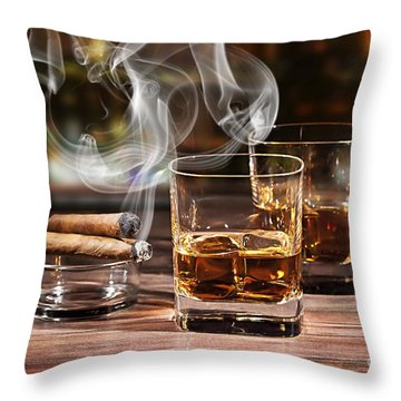 Cigar And Alcohol Collection Throw Pillow by Marvin Blaine