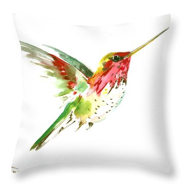 Flying Hummingbird Throw Pillow by Suren Nersisyan