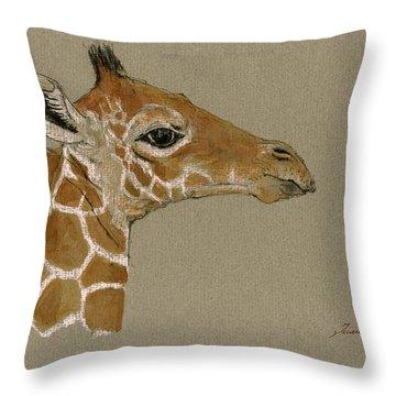 Giraffe Head Study  Throw Pillow by Juan  Bosco