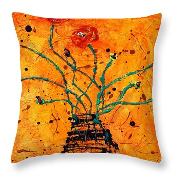 Happy Poppies  Throw Pillow by Victoria  Johns