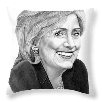 Hillary Clinton Throw Pillow by Murphy Elliott