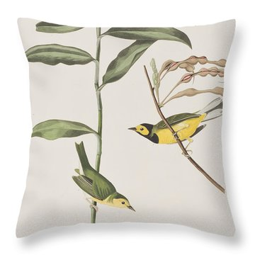 Hooded Warbler  Throw Pillow by John James Audubon