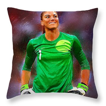 Hope Solo Throw Pillow by Semih Yurdabak