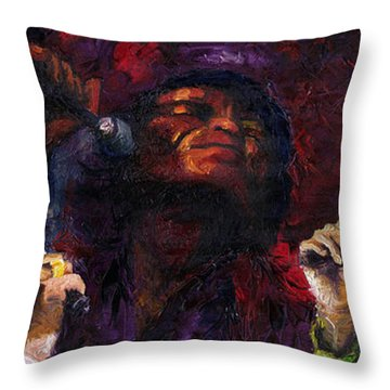 Jazz James Brown Throw Pillow by Yuriy  Shevchuk