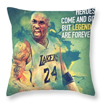 Kobe Bryant Throw Pillow by Taylan Apukovska