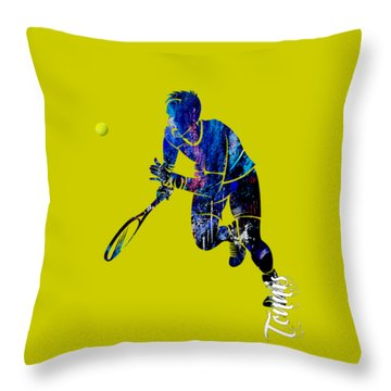 Mens Tennis Collection Throw Pillow by Marvin Blaine