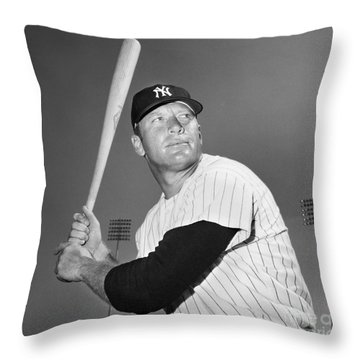 Mickey Mantle (1931-1995) Throw Pillow by Granger