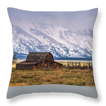 Throw Pillows Magnolia : Mormon Row Barn, Grand Teton N.p Photograph by Henk Meijer Photography
