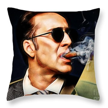 Nicolas Cage Collection Throw Pillow by Marvin Blaine