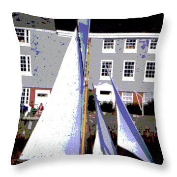 Oyster Boats Throw Pillow by Brian Roscorla