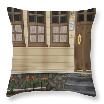 Rags On The Front Steps Throw Pillow by Anne Norskog