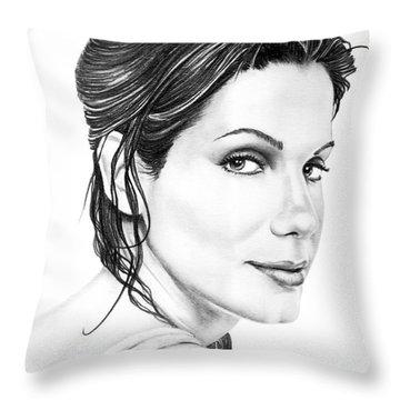 Sandra Bullock Throw Pillow by Murphy Elliott