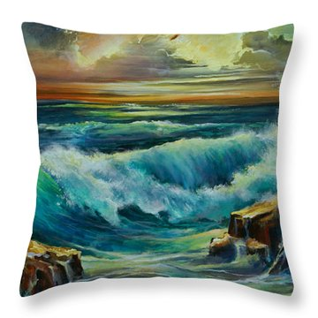 Seascape Throw Pillow by Michael Lang