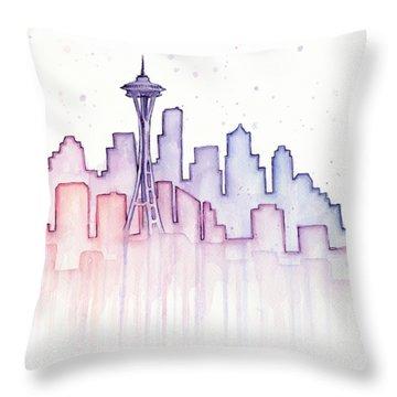 Seattle Skyline Watercolor Throw Pillow by Olga Shvartsur
