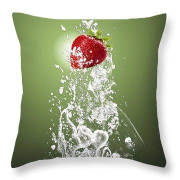 Strawberry Splash Throw Pillow by Marvin Blaine