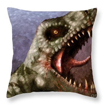 T-rex  Throw Pillow by Pixel  Chimp