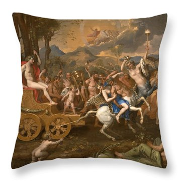 The Triumph Of Bacchus Throw Pillow by Nicolas Poussin