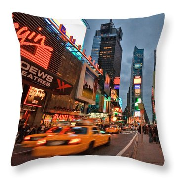 Times Square Throw Pillow by June Marie Sobrito