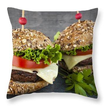 Two Gourmet Hamburgers Throw Pillow by Elena Elisseeva
