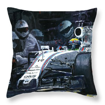2015 Williams Fw37 F1 Pit Stop Spain Gp Massa  Throw Pillow by Yuriy Shevchuk