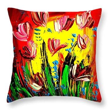 Tulips Throw Pillow by Mark Kazav