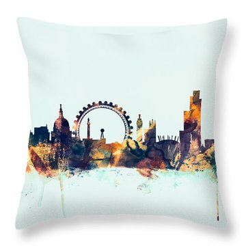London England Skyline Throw Pillow by Michael Tompsett