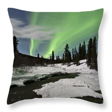 Aurora Borealis Over Creek, Yukon Throw Pillow by Jonathan Tucker