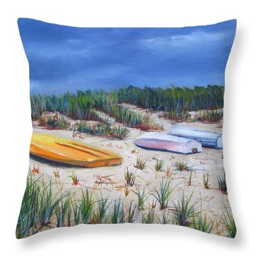 3 Boats Throw Pillow by Paul Walsh