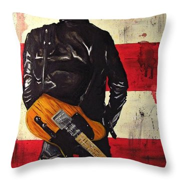 Bruce Springsteen Throw Pillow by Francesca Agostini