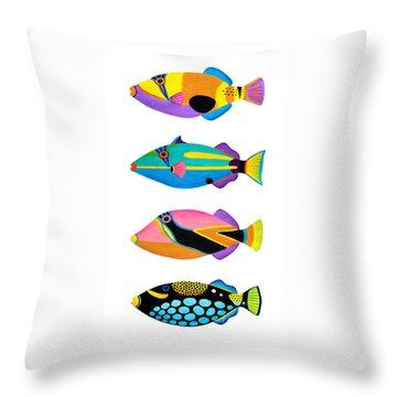 Collection Of Trigger Fishes Throw Pillow by Opas Chotiphantawanon