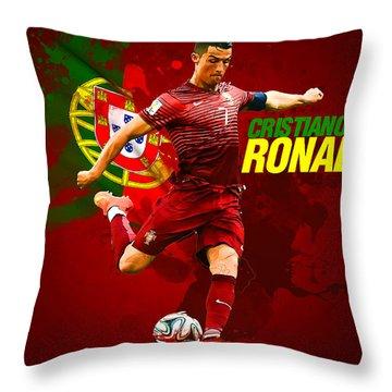 Cristiano Ronaldo Throw Pillow by Semih Yurdabak