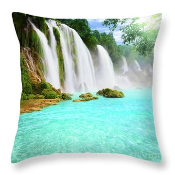 Detian Waterfall Throw Pillow by MotHaiBaPhoto Prints