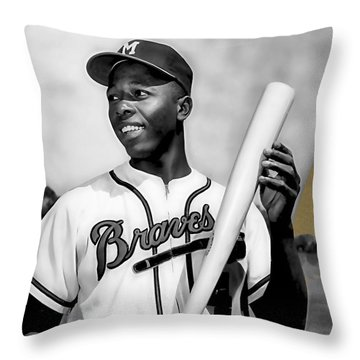 Hank Aaron Collection Throw Pillow by Marvin Blaine
