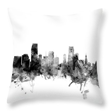 Miami Florida Skyline Throw Pillow by Michael Tompsett