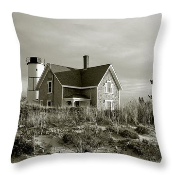 Sandy Neck Lighthouse Throw Pillow by Charles Harden