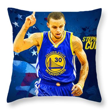 Stephen Curry Throw Pillow by Semih Yurdabak