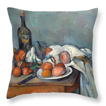 Still Life With Onions  Throw Pillow by Paul Cezanne