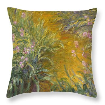 The Path Through The Irises Throw Pillow by Claude Monet
