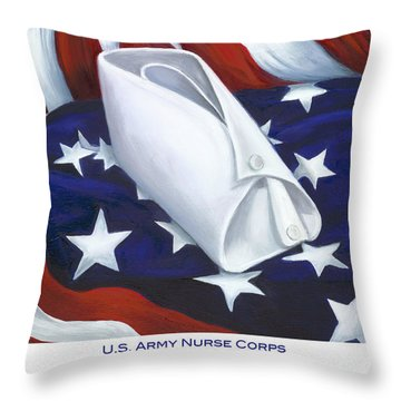 U.s. Army Nurse Corps Throw Pillow by Marlyn Boyd