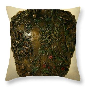 Wildflower Vase Detail Throw Pillow by Dawn Senior-Trask